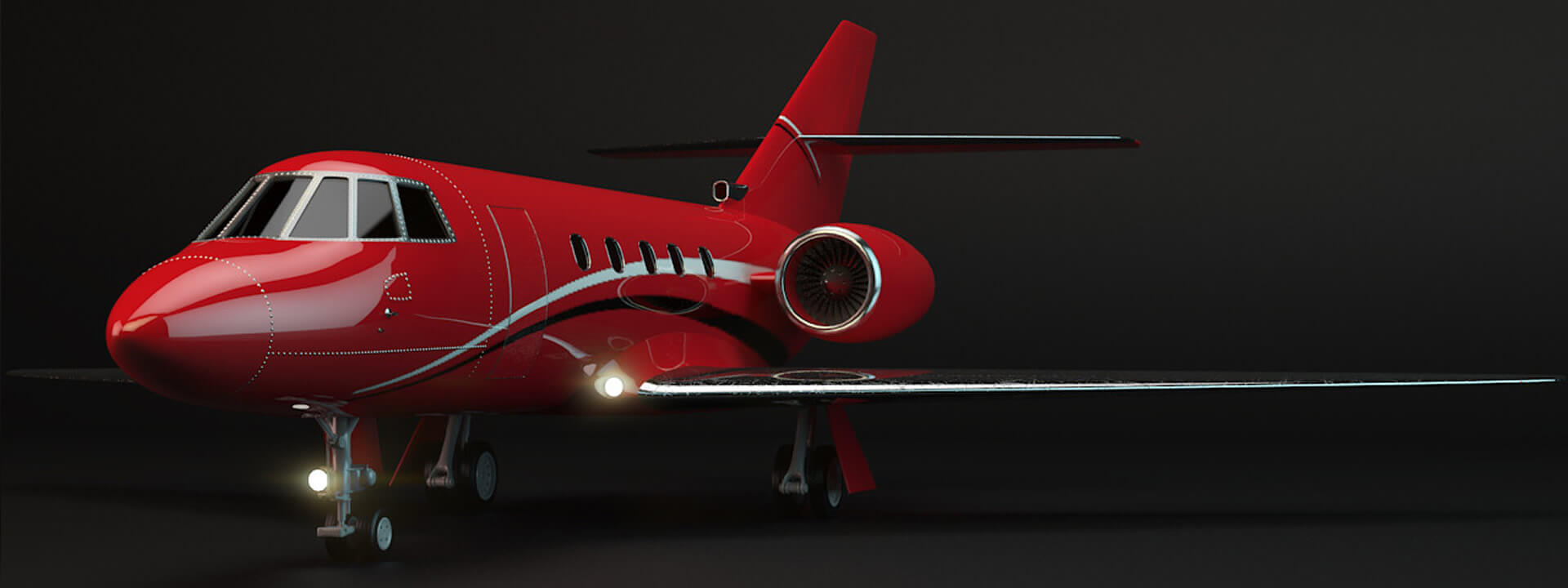 Side profile of a red private jet