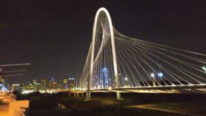 Dallas Ladybird bridge at night