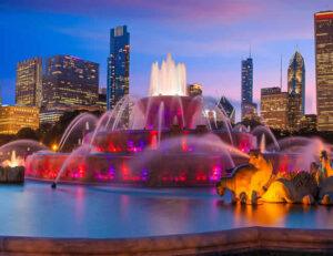 Chicago Water Fountain lit up at night