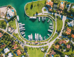 Overhead view of Marina in Miami